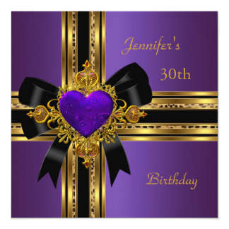 30th Birthday Party Purple Gold Heart Jewel Rose 2 Card