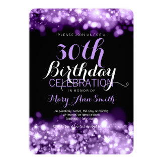 30th Birthday Party Purple Sparkling Lights 5x7 Paper Invitation Card