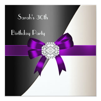 "30th Birthday Party Purple White Black Diamond 5.25"" Square Invitation Card"