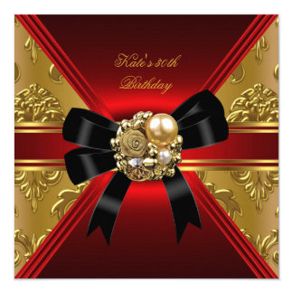 30th Birthday Party Red Gold Rich Royal Black 5.25x5.25 Square Paper Invitation Card