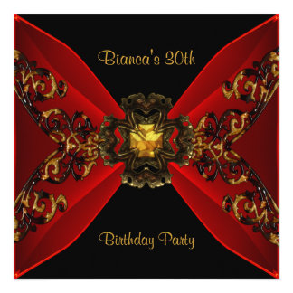 30th Birthday Party Red Wild Gold Rattan Jewel Card