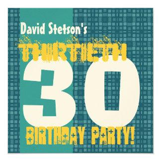 30th Birthday Party Retro Square Pattern Felt Invitation
