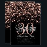 "30th Birthday Party Rose Gold Midnight Glam Invitation<br><div class=""desc"">Elegant 30th Birthday Party Rose Gold Midnight Glam invitation template. Featuring gold lights,  gold string and gold sparkles.</div>"