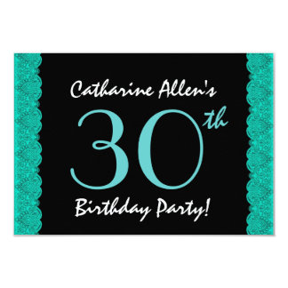30th Birthday Party Scalloped Ribbon and Black 3.5x5 Paper Invitation Card
