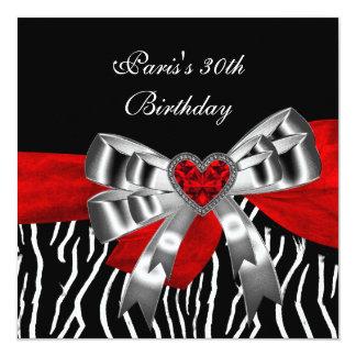 30th Birthday Party Silver Red Black White Zebra Card