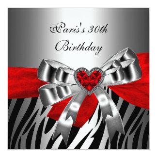 "30th Birthday Party Silver Red Black Zebra 5.25"" Square Invitation Card"