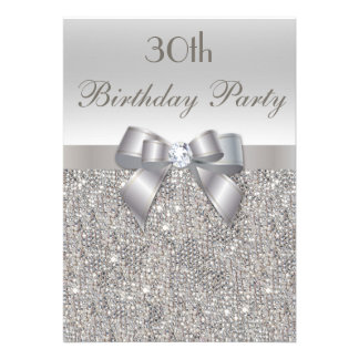 30th Birthday Party Silver Sequins, Bow & Diamond Personalized Invite