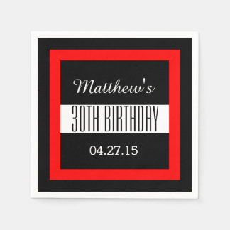 30th Birthday Party Solid Colored Square Frame VZ4 Disposable Napkin
