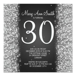 30th Birthday Party Sparkling Glitter Black Card