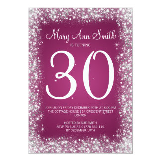 30th Birthday Party Sparkling Glitter Pink Card