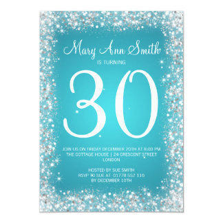 30th Birthday Party Sparkling Glitter Turquoise Card