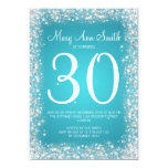30th Birthday Party Sparkling Glitter Turquoise 5x7 Paper Invitation Card