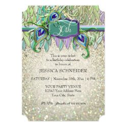30th Birthday Party Ticket Peacock Feather Card