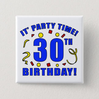 30th Birthday Party Time Pinback Button
