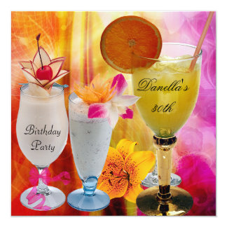 30th Birthday Party Tropical Drinks Cocktails Card