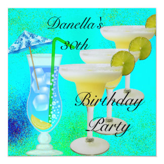 30th Birthday Party Tropical Drinks Teal Yellow Card