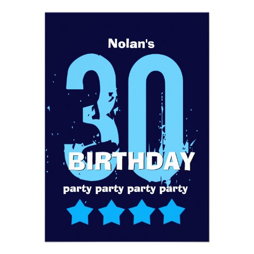 30th Birthday Party Weathered Grunge with Stars Invites