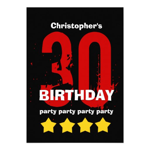30th Birthday Party Weathered Grunge with Stars Announcement