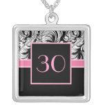 30th Birthday Pendant - Elegant Damask