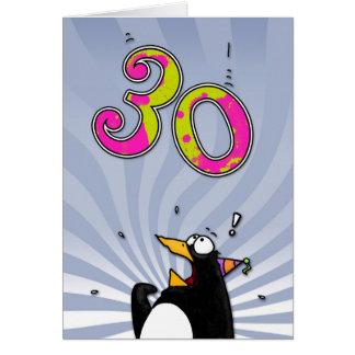 30th Birthday - Penguin Surprise Card