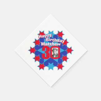 30th birthday photo and name red star napkins