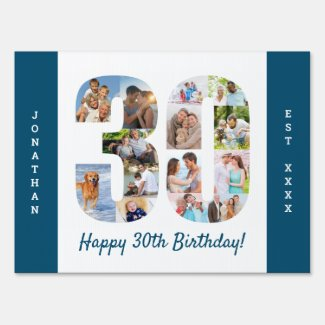 30th Birthday Photo Collage Custom Yard Sign