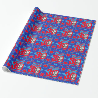 30th Birthday photo fun blue red gift wrap
