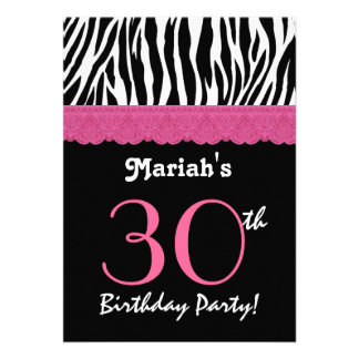 30th Birthday Pink Black Zebra Ver 4 G434 Personalized Announcement