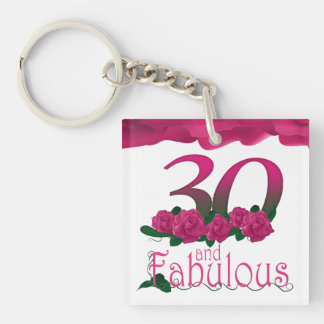 30th Birthday pink flower photo floral keychain