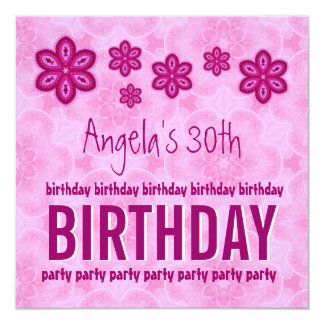 30th Birthday Pink Flowers Custom Name For Her Card