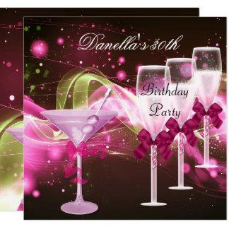 30th Birthday Pink Martini Champagne Card