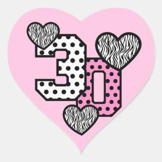 30th Birthday PINK POLKA DOTS and ZEBRA HEARTS V03 Stickers