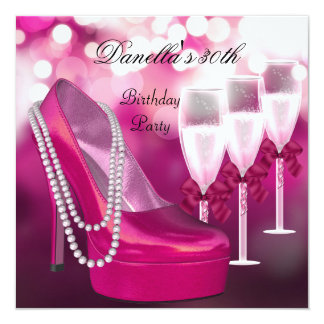 30th Birthday Pink Shoes Hi Heels Champagne 2 Card