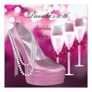 30th Birthday Pink Shoes Hi Heels Champagne Card