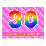 [ Thumbnail: 30th Birthday: Pink Stripes & Hearts, Rainbow 30 Postcard ]