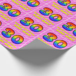 [ Thumbnail: 30th Birthday: Pink Stripes & Hearts, Rainbow # 30 Wrapping Paper ]