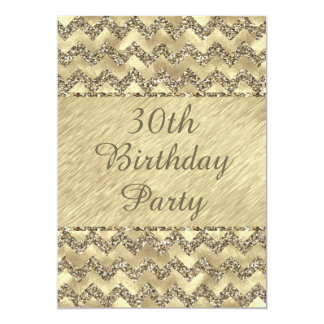 30th Birthday Platinum Glitter Chevrons Card