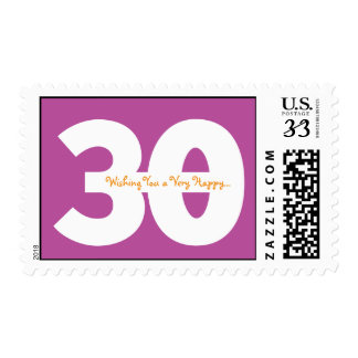 30th birthday postcard stamps - in purple