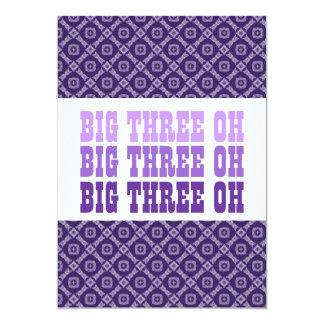 30th Birthday Purple Diamonds Squares G301 5x7 Paper Invitation Card