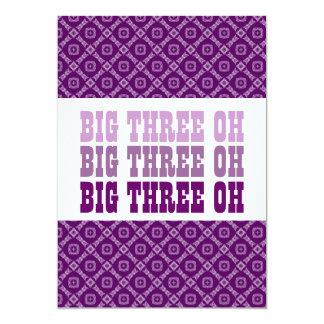 30th Birthday Purple Diamonds Squares Ver 2 G301A 5x7 Paper Invitation Card