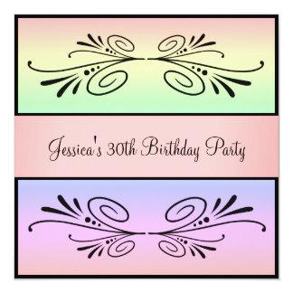 30th Birthday Rainbow Black Floral Party Card