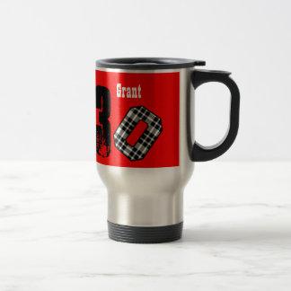 30th Birthday RED BLACK PLAID Big Numbers V049G 15 Oz Stainless Steel Travel Mug