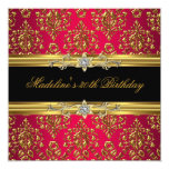30th Birthday Red Damask Gold Floral Black jewel Custom Announcements