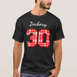 30th Birthday Red Plaid Custom Name V06 T-Shirt