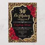 """30th Birthday - Red Roses Leopard Print Invitation<br><div class=""""desc"""">30th Birthday Invitation. Elegant red black white design with faux glitter gold. Features leopard cheetah animal print,  script font and roses. Perfect for an elegant birthday party. Can be personalized into any year! Message me if you need further customization.</div>"""