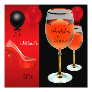 30th Birthday Red Shoes Hi Heels Wine Glass Card