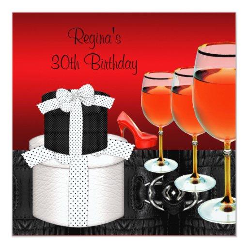 30th Birthday Red Shoes Hi Heels Wine Glass Gift Custom Invitations
