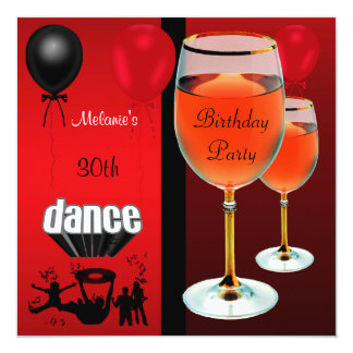 30th Birthday Red Wine Glass Dance Balloons Card