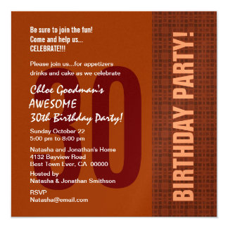 30th Birthday Retro Square Pattern Metallic Invitation