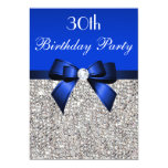 30th Birthday Royal Blue Bow Silver Sequins 5x7 Paper Invitation Card